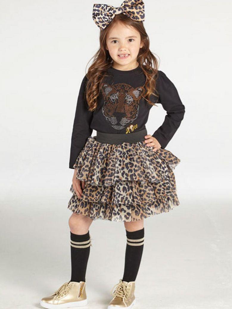 A Dee Theodora Leopard Print Tulle Skirt Brown