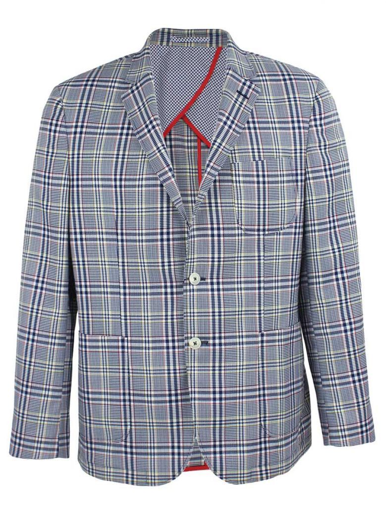 Dario Beltran Blue Multi Check Blazer