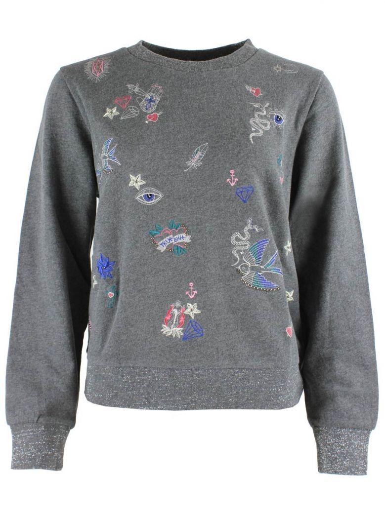 Derhy Grey Pattern Embroidered Top