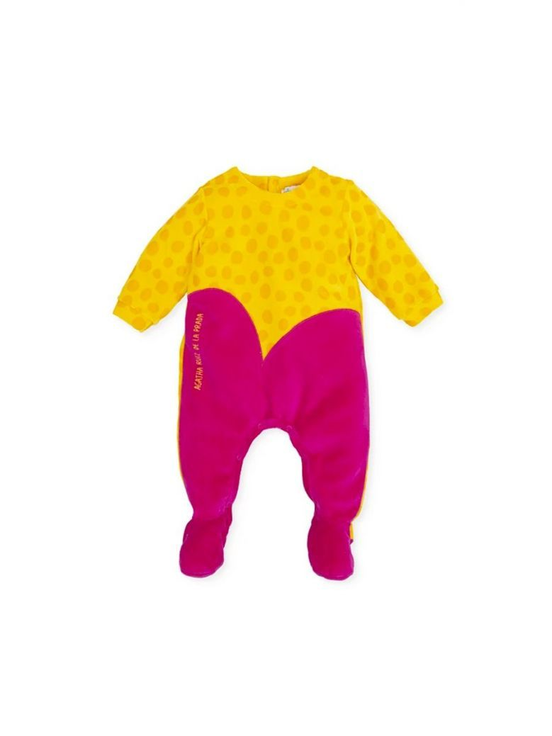 Agatha Ruiz Dotty Velour Babygrow Mustard