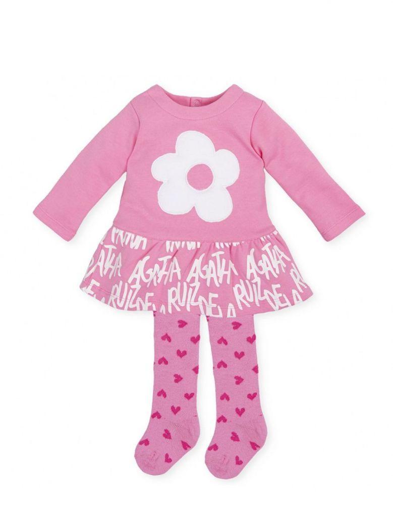 Agatha Ruiz Flower Dress and Tights Set Pink