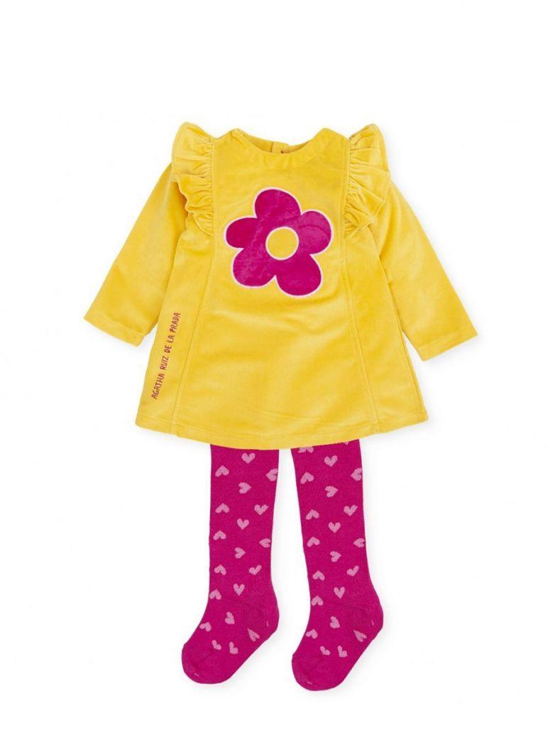 Agatha Ruiz Flower Dress and Tights Set Yellow