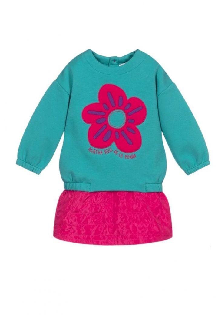 Agatha Ruiz Flower Sweatshirt and Skirt Set Teal
