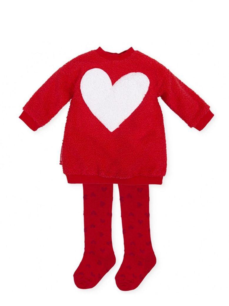 Agatha Ruiz Heart Applique Teddy Dress Red