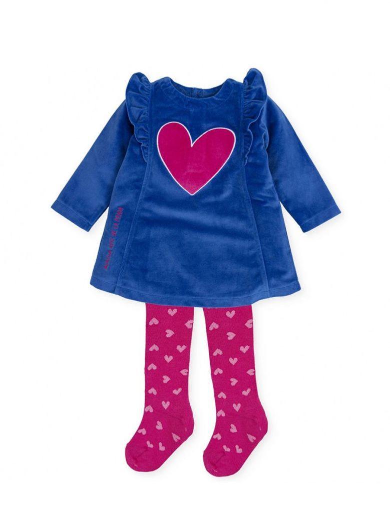 Agatha Ruiz Heart Dress and Tights Set Blue