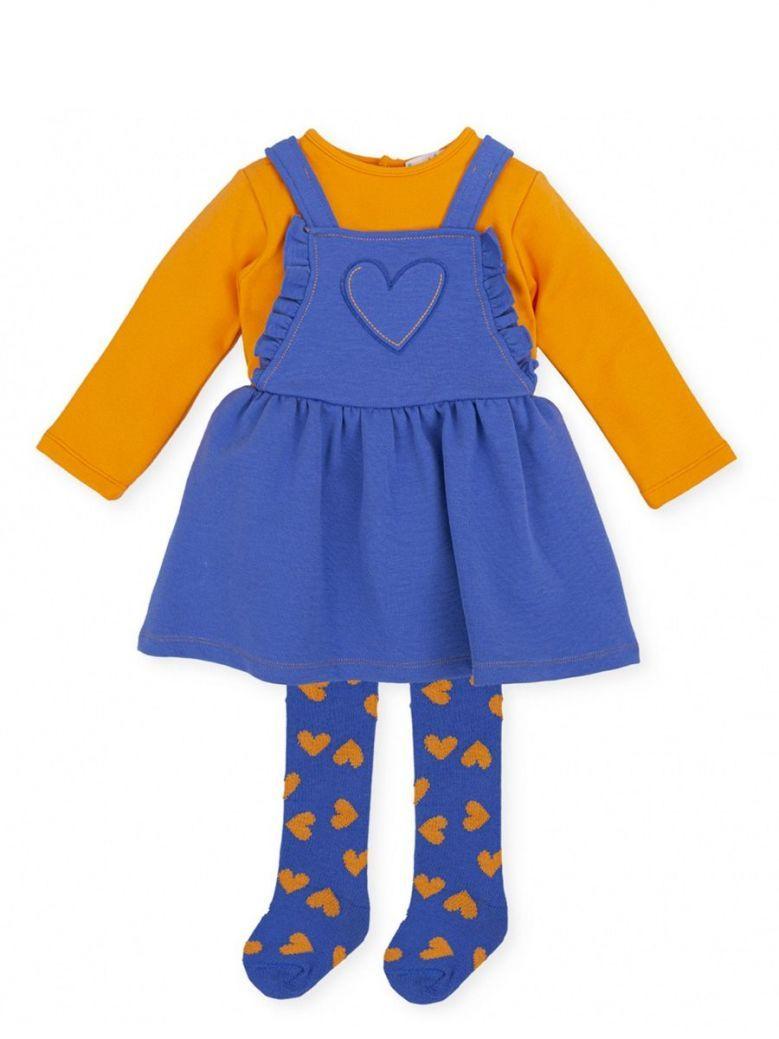Agatha Ruiz Heart Dungaree Dress and Tights Set Blue