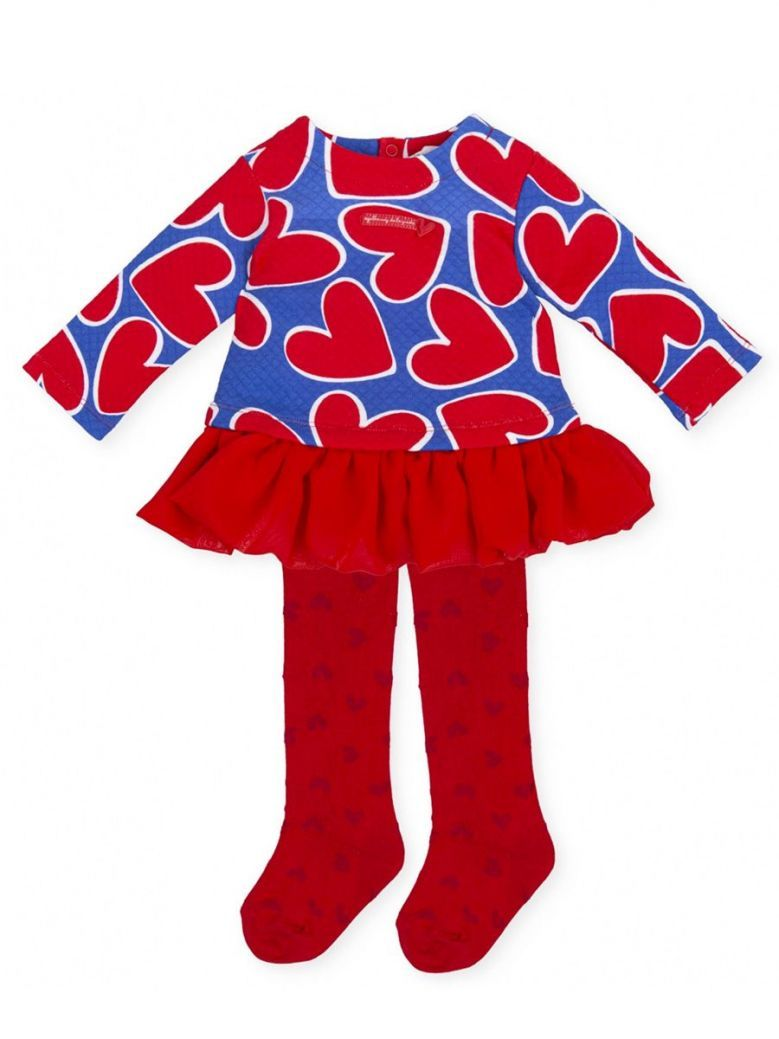 Agatha Ruiz Quilted Heart Print Dress and Tights Set Red