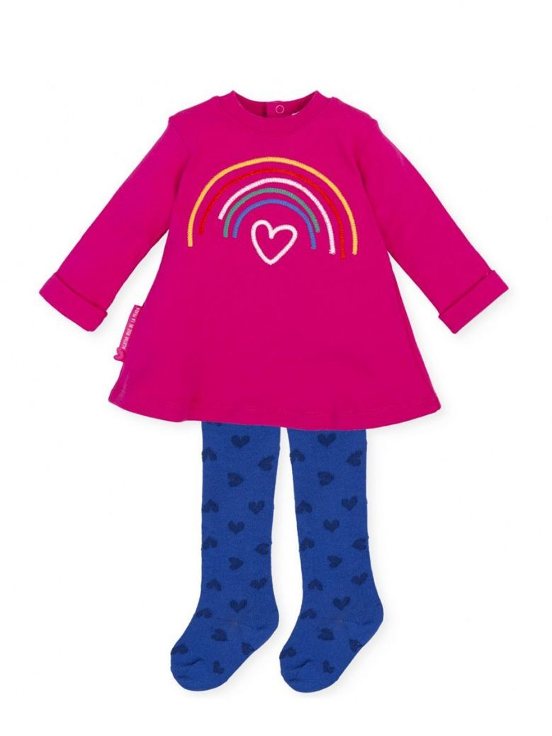 Agatha Ruiz Rainbow Dress and Tights Set Pink