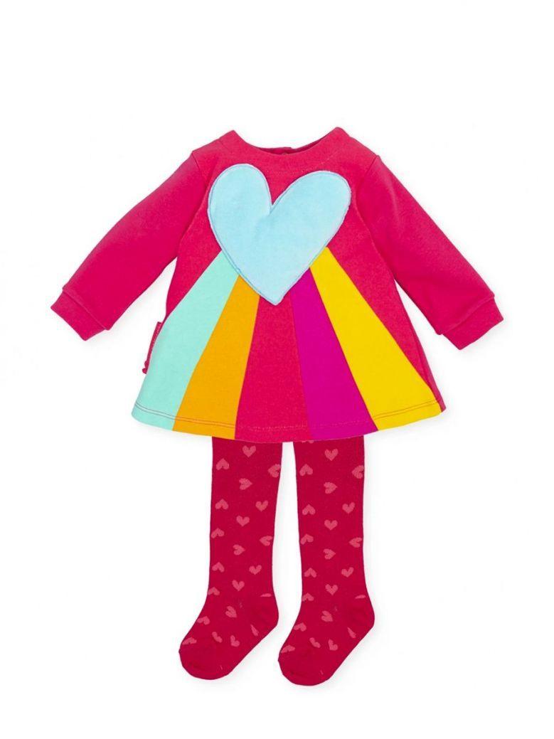 Agatha Ruiz Rainbow Heart Dress and Tights Set Multi