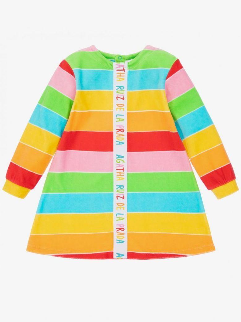 Agatha Ruiz Rainbow Stripe Dress and Tights Set Multi