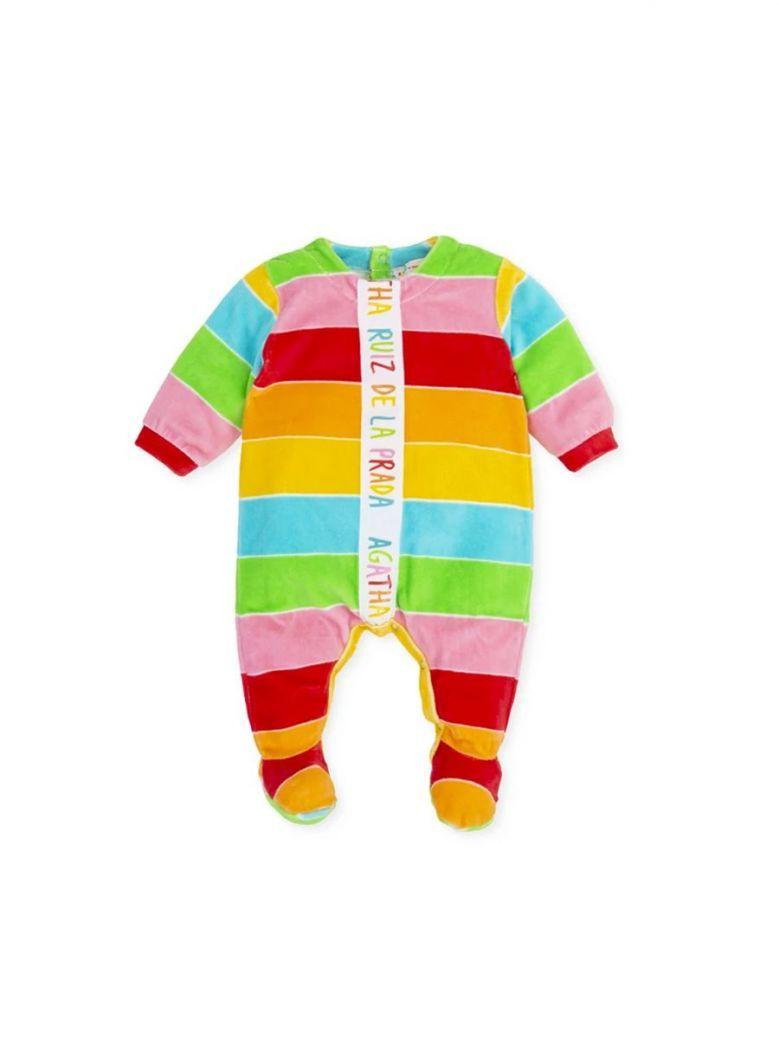Agatha Ruiz Rainbow Stripe Velour Babygrow Multi