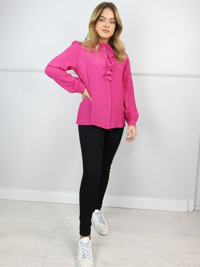 Emme by Marella Cerise Pink Ruffle Detail Blouse