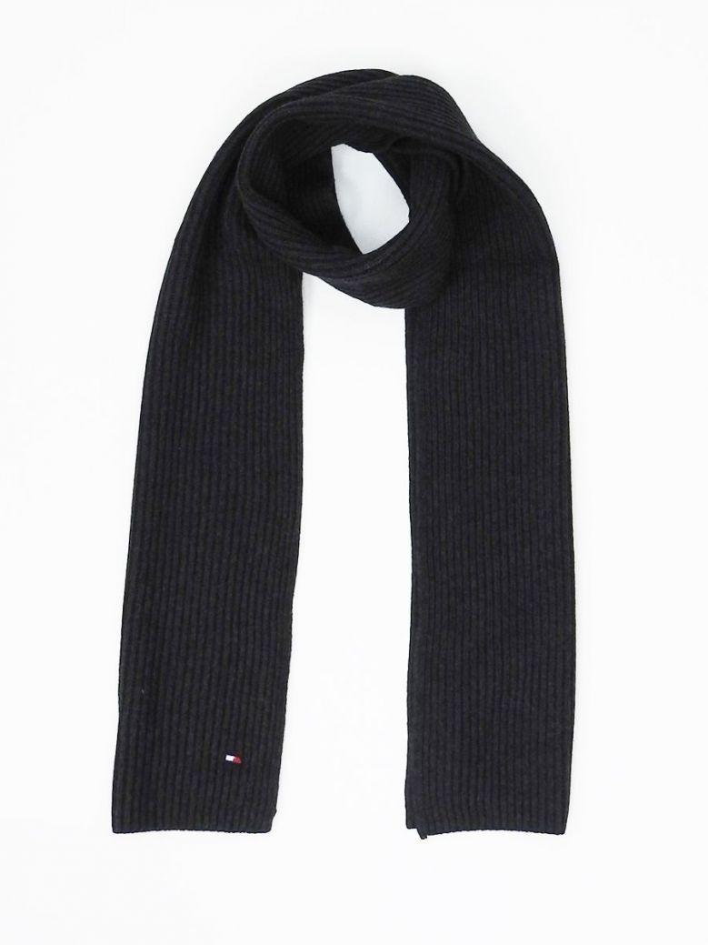 Tommy Hilfiger Mens Dark Charcoal Pima Cotton Embroidery Rib-Knit Scarf
