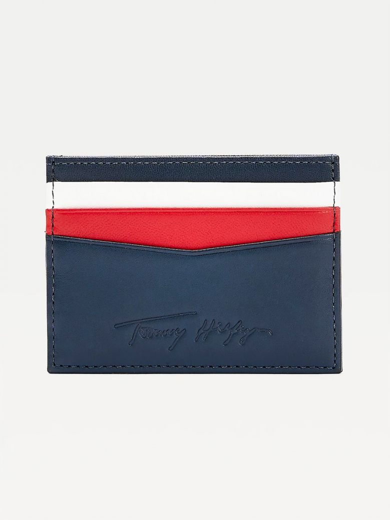 Tommy Hilfiger Men Desert Sky Signature Leather Card Holder