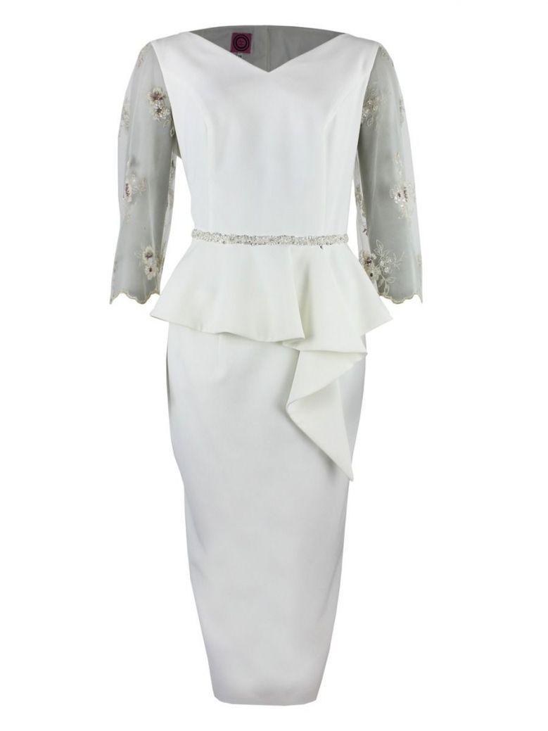 Anoola Sheer Sleeve Peplum Hem Dress, Ivory, Style 202