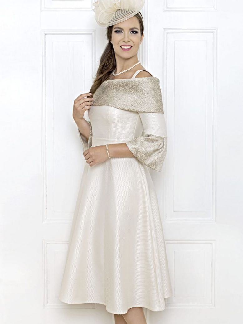 Anoola Off The Shoulder Fit and Flare Dress, Cream and Gold, Style D236