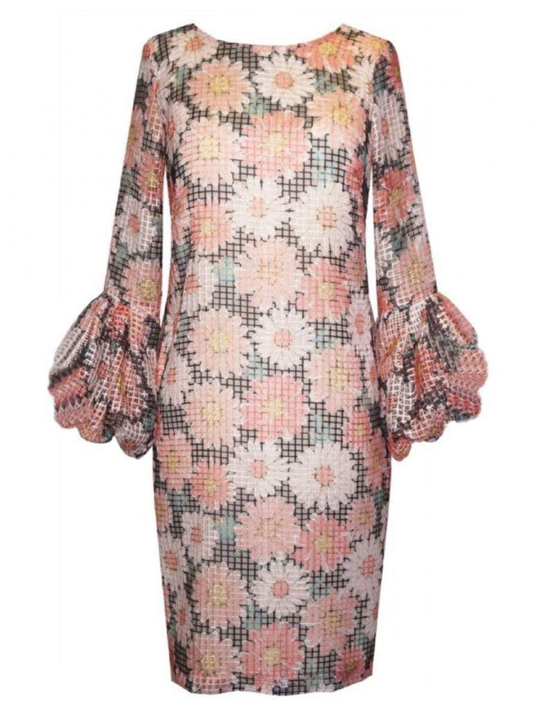 Arggido Floral Print Mesh Overlay Dress Orange