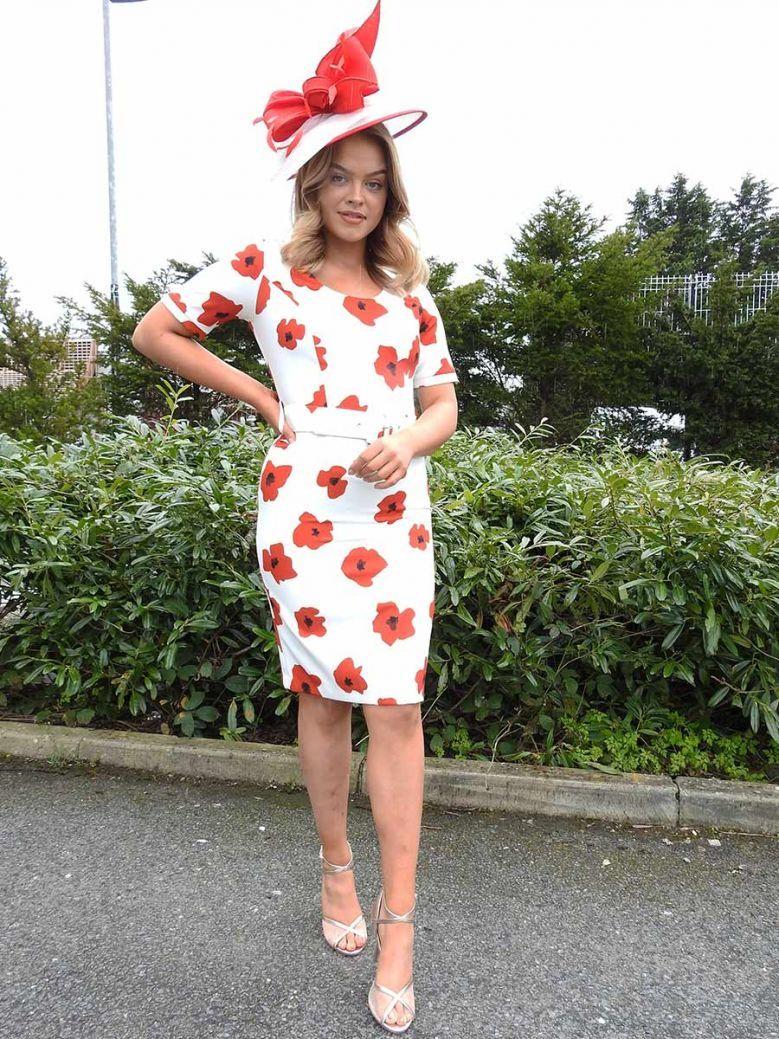 Arggido Floral Print Midi Dress Cream and Red