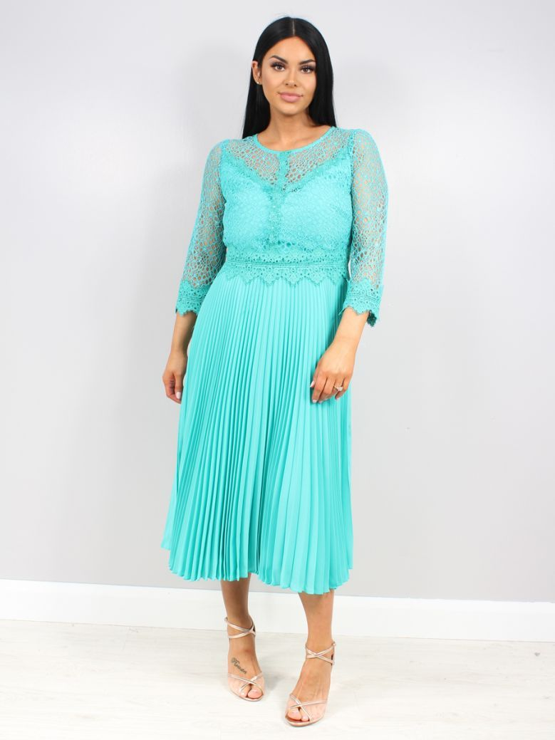Arggido 3/4 Sleeve Pleated Dress Turquoise
