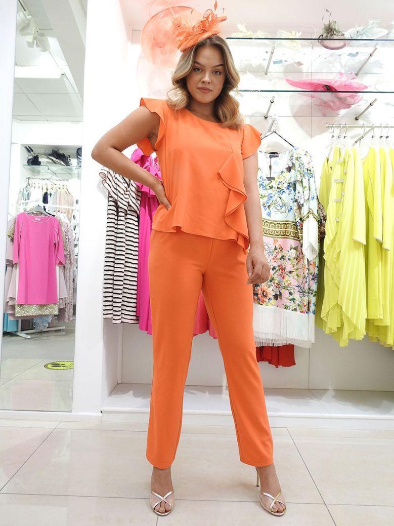 Arggido Ruffle Top Overlay Jumpsuit Orange