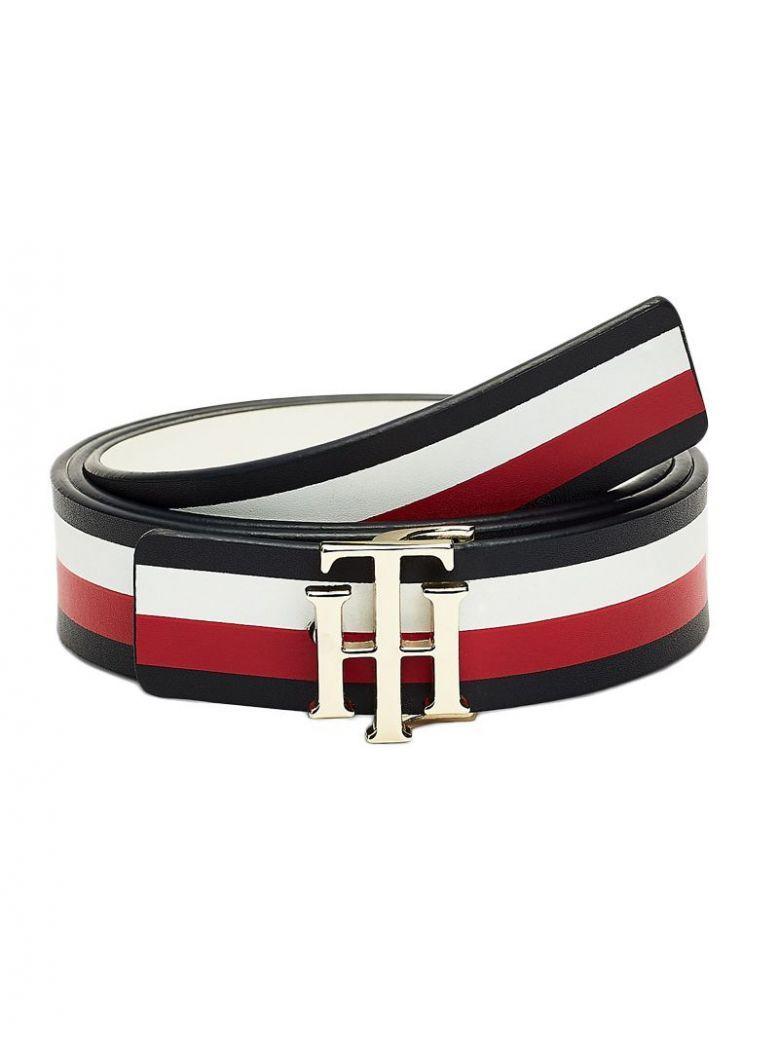 Tommy Hilfiger Corporate/White Reversible Monogram Plaque Leather Belt