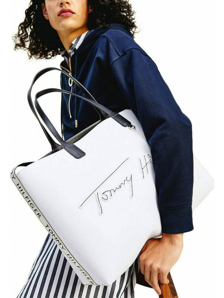 Tommy Hilfiger White Iconic Signature Embroidery Tote Bag