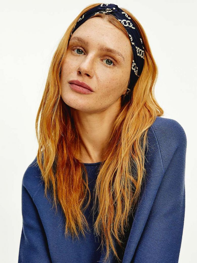 Tommy Hilfiger Navy Chain Print Twist Front Headband