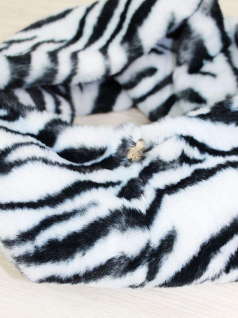 Guess Zebra Print Faux Fur Neck Warmer