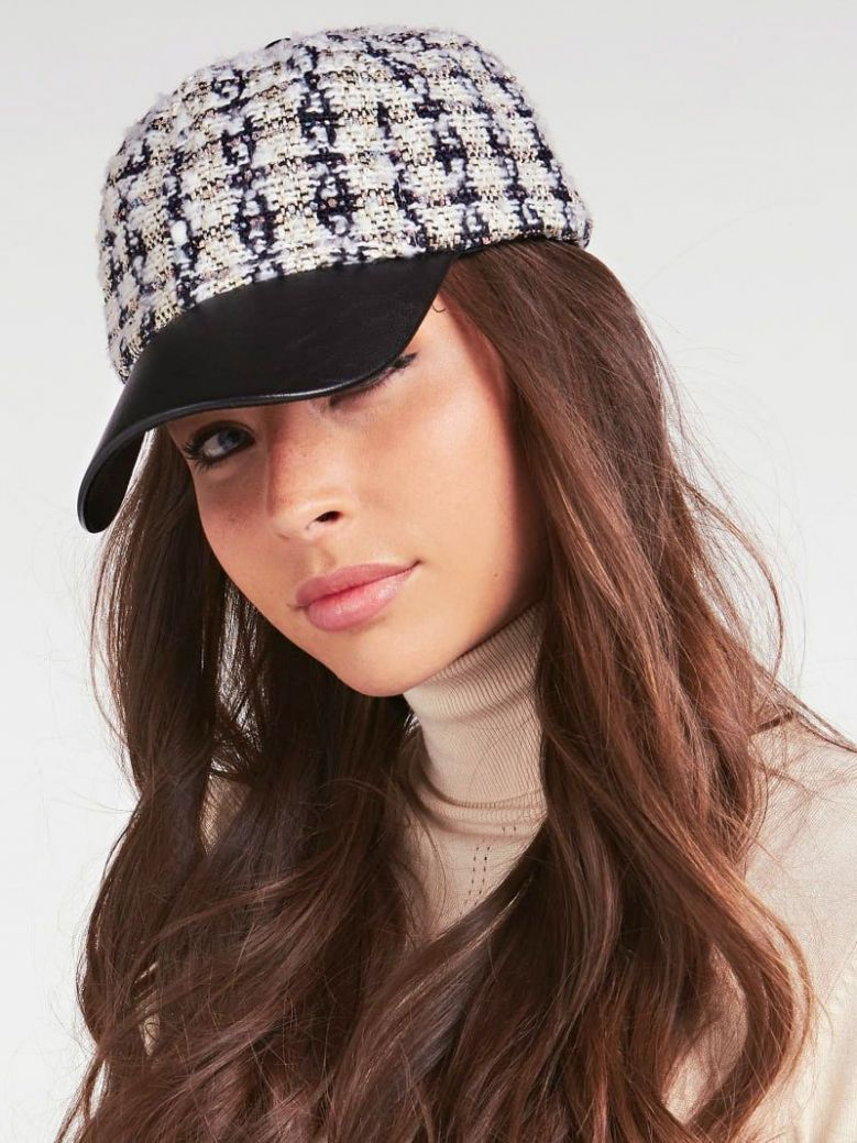 Guess White Cessily Tweed Baseball Cap