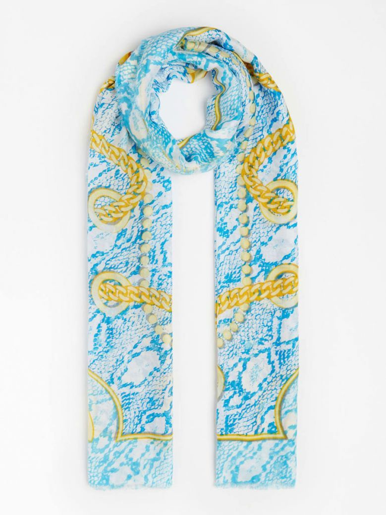 Guess Turquoise Chain Print Scarf