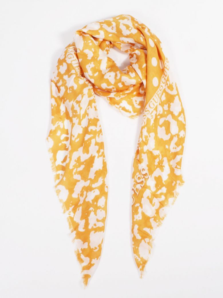 Guess Yellow Lettering 4G Kefiah Scarf
