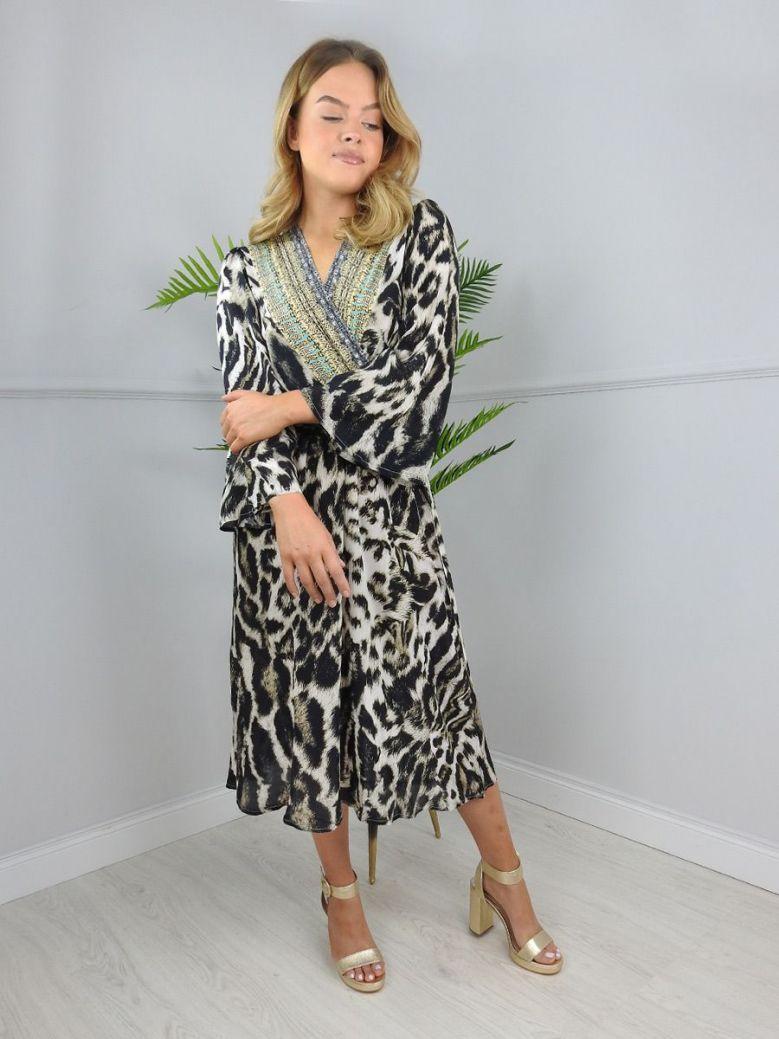 Inoa Sheer Animal Print Wrap Dress