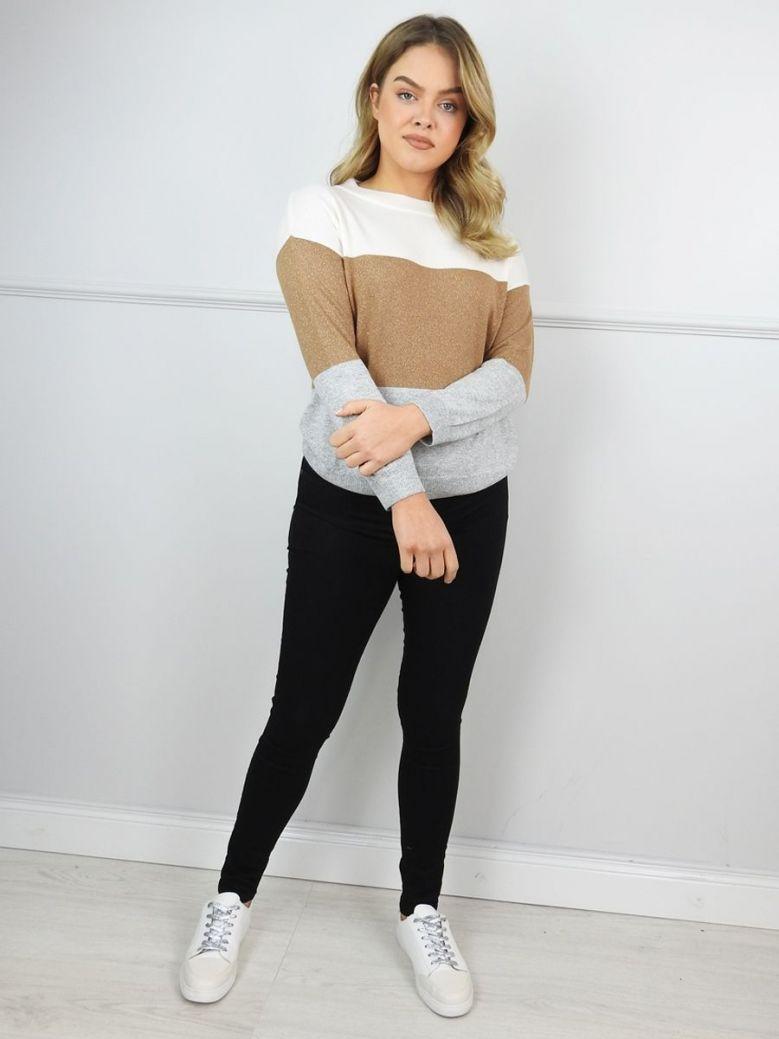 Emme by Marella Natural Bernard Block Colour Sweater