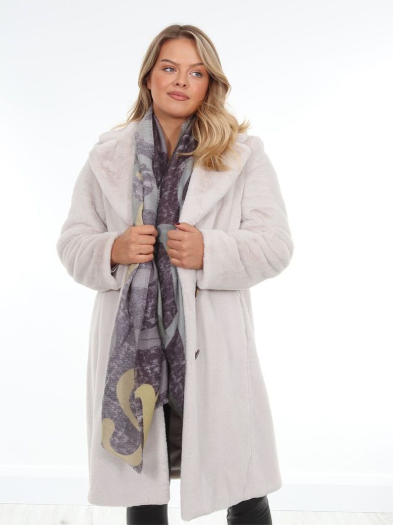 Betty Barclay Longline Faux Fur Coat Taupe