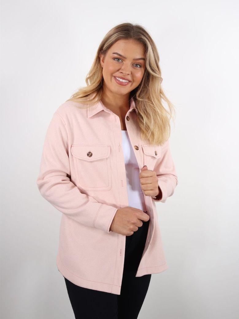 Bianca Amra Button Down Shirt Jacket Pink