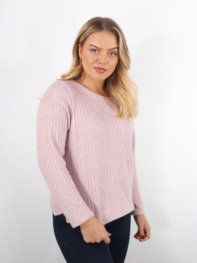 Bianca Dami Cable Knit Jumper Pink