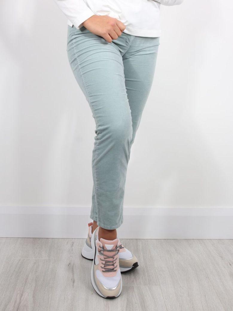 Bianca Denver Velvet Look Trousers Green