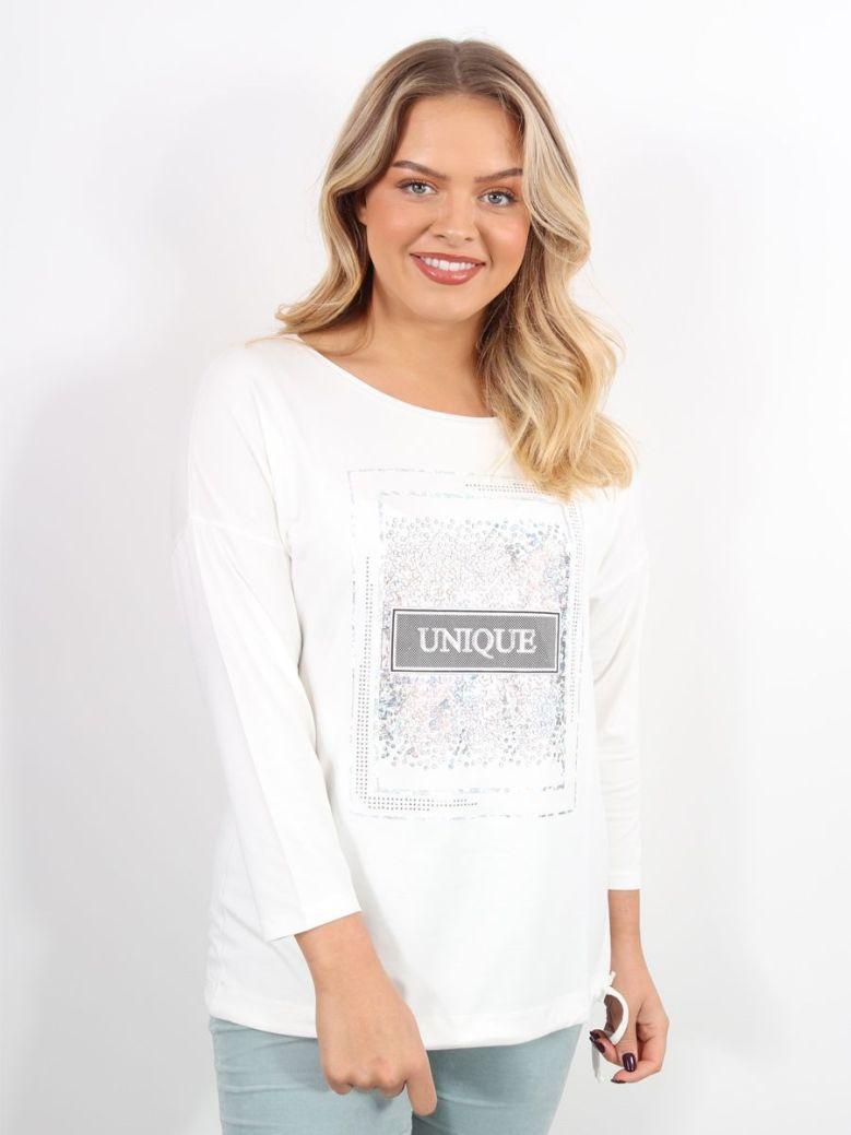 Bianca Julie 'Unique' Applique Long Sleeve T-Shirt Cream