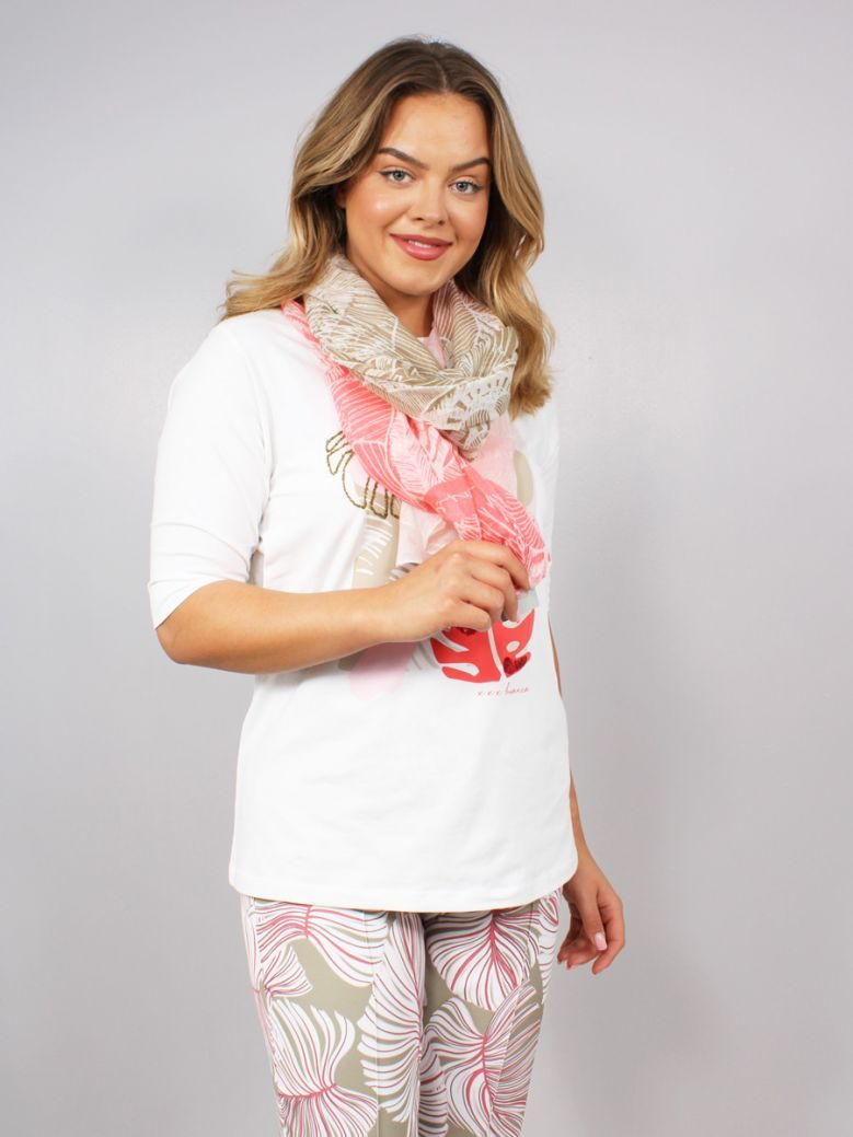 Bianca Musi Etched Print Scarf Pink