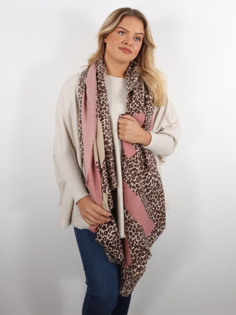 Bianca Musi Leopard Print Scarf Brown