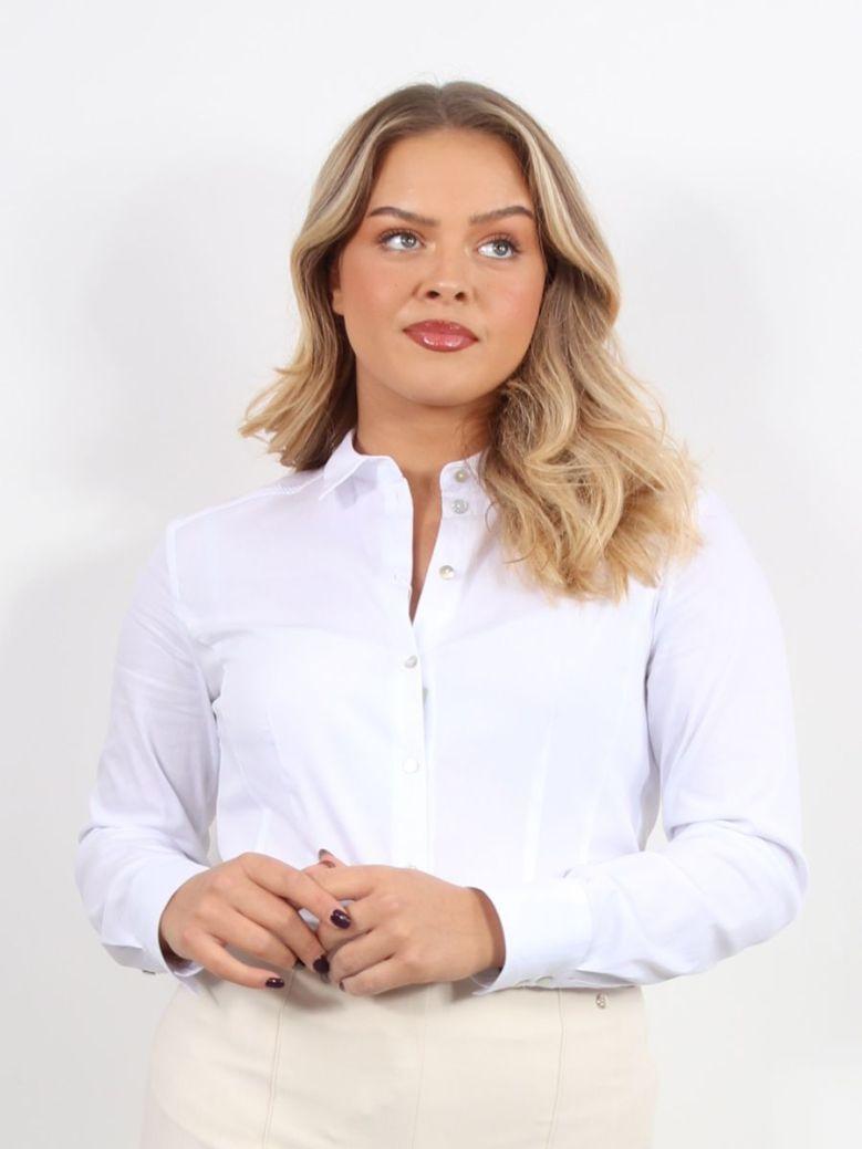 Bianca Serina Button Down Blouse White