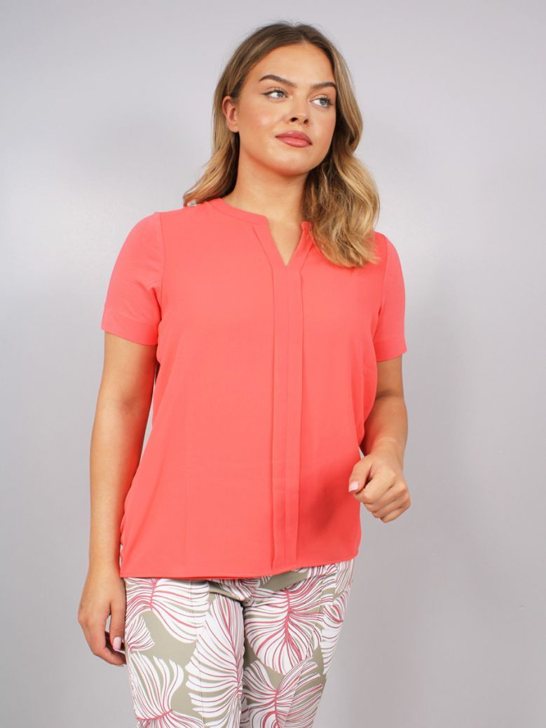 Bianca Short Sleeve Blouse Coral