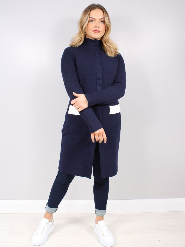 Rino & Pelle Navy Long Knitted Cardigan