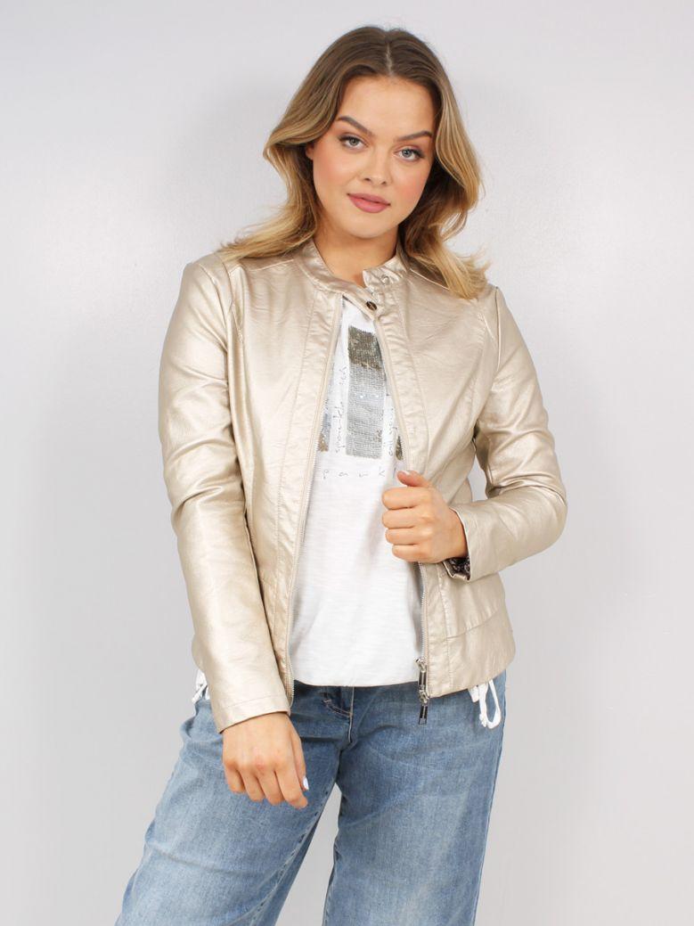 Rino & Pelle Gold Metallic Faux Leather Jacket