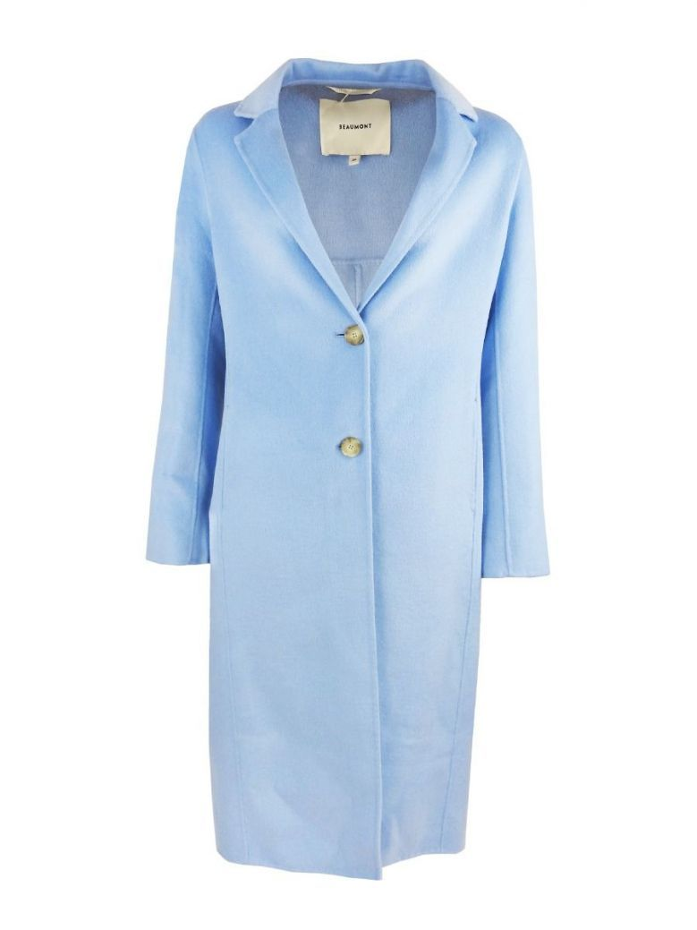 Beaumont Pale Blue Blazer Style Long Wool Coat