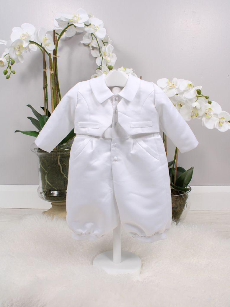 Poinsettia White Danny Christening Suit