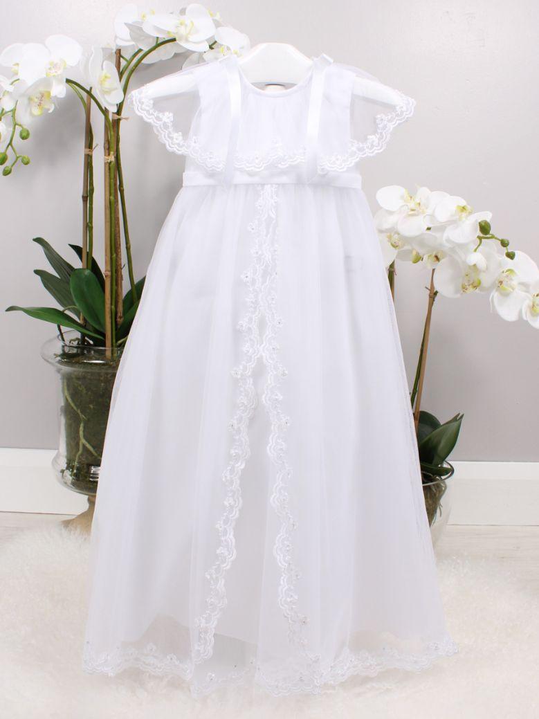Poinsettia White Bree Christening Gown