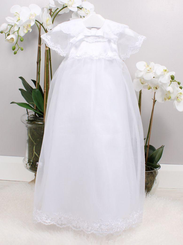 Poinsettia White Mollie Christening Gown