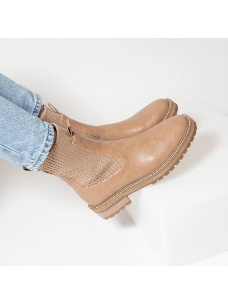 Vanessa Wu Camel Ribbed Sock Boots