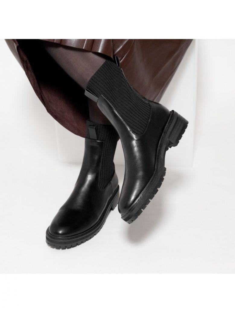 Vanessa Wu Black Ribbed Sock Boots
